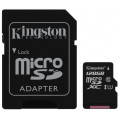 micro SDXC карта памяти Kingston 128GB Class10 UHS-I 45MB s c адаптером SDC10G2 128GB