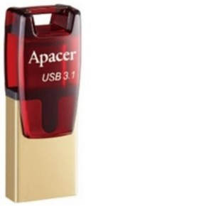 USB 3 1 накопитель Apacer 16GB AH180 OTG Type-C Type-A DUAL red